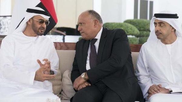 محمد بن زايد يبحث مع وزير الخارجية المصري التطورات في المنطقة